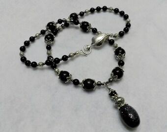 Blue necklace, silverstone necklace, vintage necklace