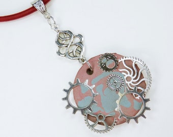 Necklace gears blue - reddish concrete jewelry on the red silk ribbon unique silver gears gear steampunk concrete jewelry