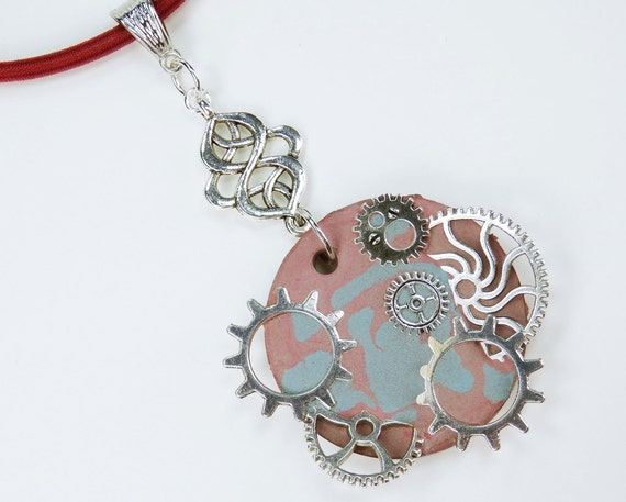 Necklace Gears Blue-reddish concrete jewelry on red silk ribbon unique silver toothed gears steampunk concrete Jewelry