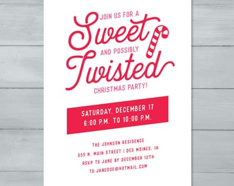 Sweet and Twisted Candy Cane Christmas Party Invitation  |  Candy Cane Holiday Party Invite