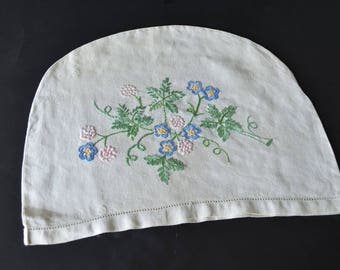 Vintage Hand Embroidered Linen Floral Tea Cosy Cover