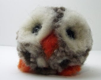 Cute Needle felted Tawny Owl Collectible OOAK Artist-made Gill Lait Art - Queenie