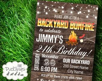 Backyard Bonfire Invitation, Birthday party Invite, Rustic Wood background design, Printable Digital Invitation, A115