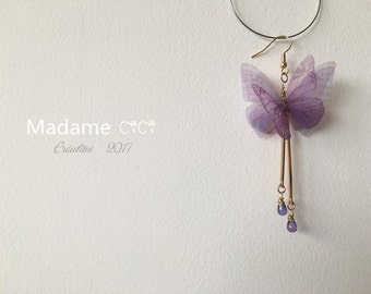Butterfly butterfly purple butterfly earrings