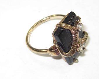 U-20 Vintage Ring 6  3/4 black onyx stone 14 k H.G.E.