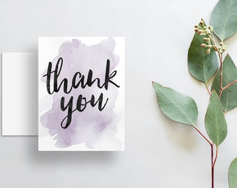 watercolor splash thank you cards // folded thank you notes // lavender pale purple watercolor // brush lettering // PRINTED cards // custom
