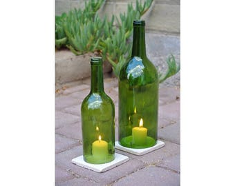 Green Wine Bottle Candle Holders WITH TILE 1 Liter / Candle Cover / Outdoor Lighting / Candle Hurricane Lamp / Lantern Winebottle / Cabernet
