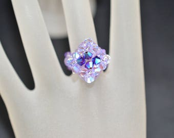 Small crystal ring Swarovski graphite ab2x, purple ab2x