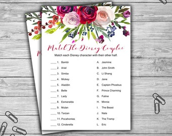 Match The Disney Couples - Bridal Shower - Game - Cards - Watercolor - Floral - PRINTABLE - INSTANT DOWNLOAD - Purple - Pink - Red - L43