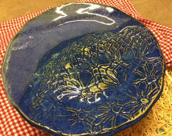 Pottery Cake Plate, Blue with texture
