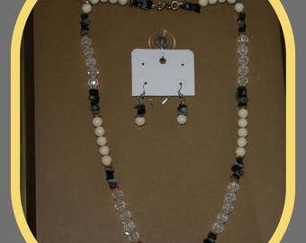 Black, Creme and Clear Beaded Necklace w/ Earrings