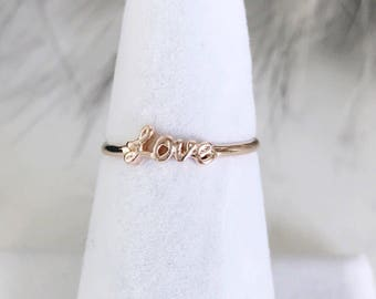 Handwritten Love Ring, Dainty Crystal Ring, Minimalist ring, Dainty ring, stackable ring, Reversible ring, stacking ring, dainty