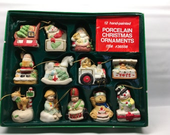 Christmas Ornaments, Porcelain Ornaments, Set of 12, Retro, Ornaments, Vintage Ornaments, Christmas, Tree Ornaments, Christmas Porcelain