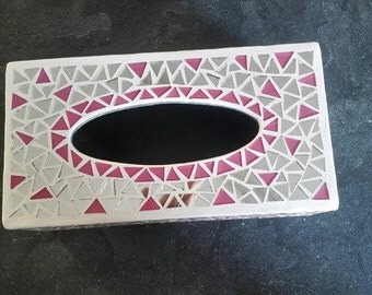 Mosaic tissue box mirror and color pink