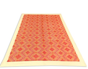 Hand Made Indian Lilen with Silk Swath Embroidery Work Double Bed Cover 260x240 CM