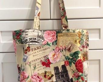 Tote Bag with Paris Theme-Market Bag-Paris-Tote-Reusable Grocery Bag-Recycle