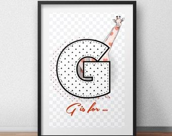 Personalized wall art last name prints art giraffe print giraffe picture custom print art letter picture art letter pictures G letter print