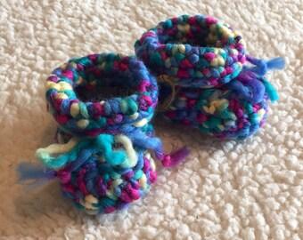 Newborn Rainbow Crochet Baby booties Boots