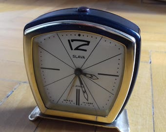 Vintage USSR alarm clock Slava/ Soviet mechanical clock Slava- working condition