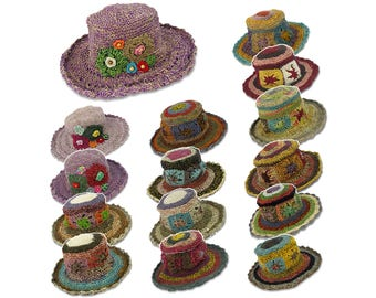 Women Boho Crochet Hemp Wide Brim Summer Beach Sun Straw Hat H05X