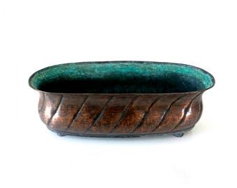 Large Copper Planter - Vintage 1940's German Hand Beaten Verdigris Copper Trough - Arts & Crafts