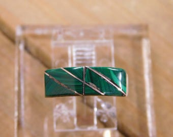 Sterling Silver Malachite Inlay Band Ring Size 6