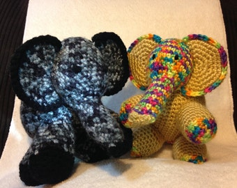 Little crocheted elephant is grey/ black or gold/multi colored, amigurumi elephant, sold individually