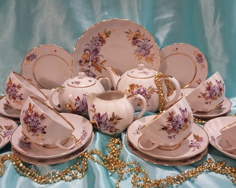 "Lomonosov Coffee-tea set ""Gold leaves"" 23/6 pieces Russian Porcelain VERY RARE!!"