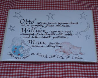Illustrated calligraphy for birth announcement or christening present