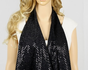 Black on Black Sequin Scarf w/ fringes