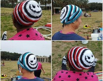 Handmade Crochet Jack Skellington Slouch Beanie