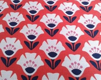 Barkcloth Fabric in Orange Organic Cotton, Floral Garden Variety, Upholstery, Apparel, Home Decor, by Cloud9, 9oz, by the yard or half yd