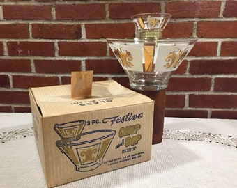 Anchor Hocking Three Piece Chip & Dip Set with Original Box - Fleur de lis Design - Mid Century Mod
