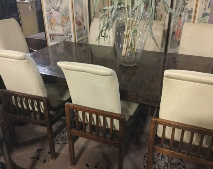 Ca.70s Henredon Walnut Dining Set with 6 Side Chairs and 2 arm chairs