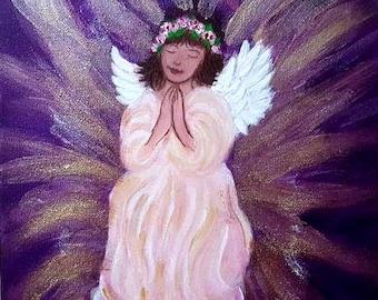 Angel of Protection - Original art, Sparkling finish, Hand made,Nursery/kids bedroom, baby shower, wall decor Reiki charged, angel art.