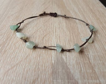 Green Aventurine bracelet genuine Green Aventurine bracelet, ladies or mens bracelet, bead chip gemstone