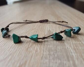 Malachite bracelet, Bead Bracelet, gemstone chip bracelet Beads Bracelet men's, wax cord bracelets, ladies, gentlemen,