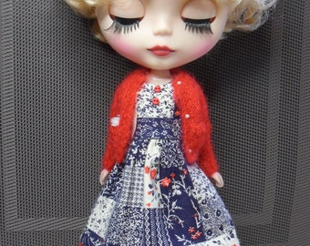 Dress Set for BLYTHE DOLL--brushed cotton Dress and Red Mohair Sweater Only