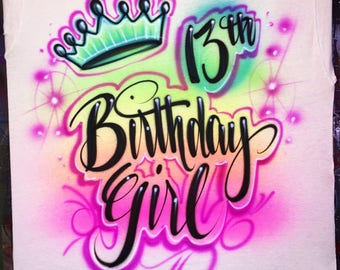 Birthday girl airbrush shirt