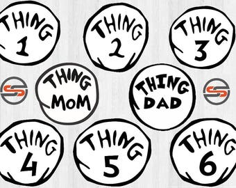 Thing 1 SVG, Thing 2, Thing3, Thing4, Thing 5, Thing8, Thing Dad, Thing Mom, DXF,  SVG cut file, Instant Download, Clip art, DrSeuss