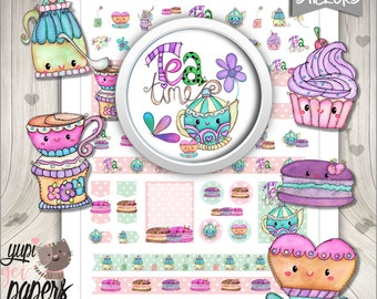 Tea Party Stickers, Planner Stickers, Tea Stickers, Printable Planner Stickers, Kawaii Stickers, Watercolor Tea Stickers, Tea Time, Stickers