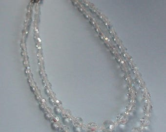 Vintage AB Crystal Beads Double Strand Necklace