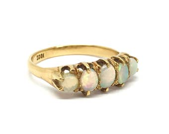 SALE! Antique 18ct Gold Opal Five Stone Ring