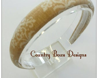 Fabric Headband-Padded Headband-Tan and Beige Headband