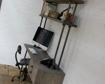 Cherie Reclaimed Grey Washed Scaffolding Board Urban Industrial Desk with Drawers and Incorporated Shelving - www.urbangrain.co.uk