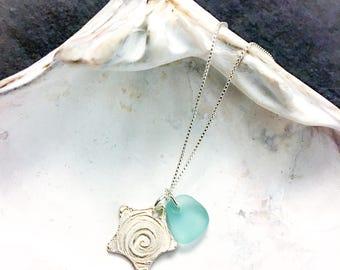 Blue Green Teal Sea Glass Handmade Fine Silver Starfish Star Pendant Charm Necklace