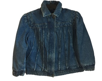 Vintage 80's 90's Gitano Pleated Jean Denim Jacket Medium FREE SHIPPING!
