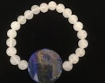 White Jade and Lapis Bracelet