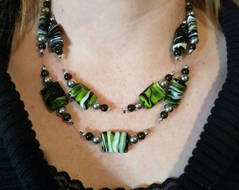 Black-green-white- double strand beaded  necklace.