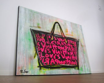 Louis Vuitton - Graffiti Bag - Pop Art - Canvas - Painting - Acryl - Fashion - Shabby Chic Paris - signed - Modern Art - French